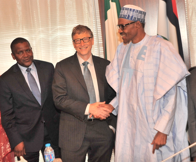 L-R- -R President/CE, Dangote Industries Limited, Mr Aliko Dangote; Co-Chair, Bill and Melinda Gates Foundation,Mr. Bill Gates and His Excellency, President of the Federal Republic of Nigeria, Muhammadu Buhari at the signing of Updated Abuja Commitments on Polio Eradication and Routine Immunization. Both Foundations will be signing a $100m partnership agreement otowards ending undernutrition in Nigeria.